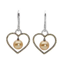 AUTORE正品  18K彩金1.00克拉总重100%纯正珍珠心形耳环