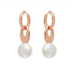AUTORE正品  18K玫瑰金100%纯正珍珠耳环