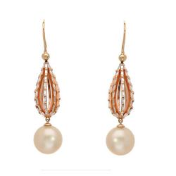 AUTORE正品  18K玫瑰金1.64克拉总重100%纯正珍珠耳环