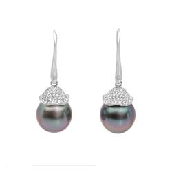 AUTORE正品  18K白金0.71克拉总重100%纯正珍珠耳环