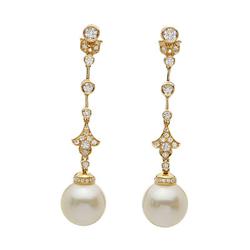 AUTORE正品  18K黄金0.94克拉总重100%纯正珍珠耳环