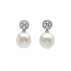 AUTORE正品  18K白金0.84克拉总重100%纯正珍珠耳环