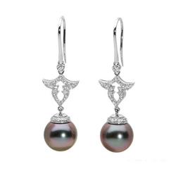 AUTORE正品  18K白金0.61克拉总重100%纯正珍珠耳环
