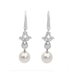 AUTORE正品  18K白金1.17克拉总重100%纯正珍珠耳环
