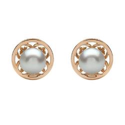 AUTORE正品  18K玫瑰金0.51克拉总重100%纯正珍珠耳环