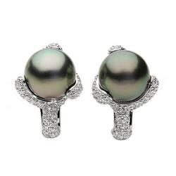AUTORE正品  18K白金1.83克拉总重100%纯正珍珠耳环