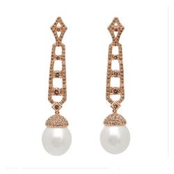 AUTORE正品  18K玫瑰金2.84克拉总重100%纯正珍珠耳环