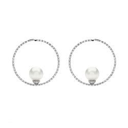 AUTORE正品  18K白金1.38克拉总重100%纯正珍珠耳环