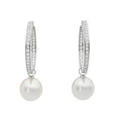 AUTORE正品  18K白金0.99克拉总重100%纯正珍珠耳环