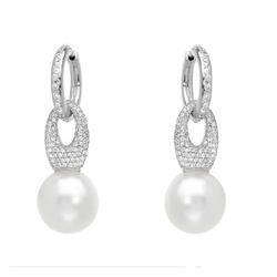 AUTORE正品  18K白金1.54克拉总重100%纯正珍珠耳环