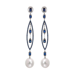 AUTORE正品  18K彩金4.10克拉总重100%纯正珍珠耳环