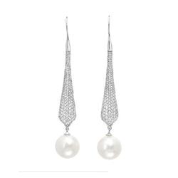 AUTORE正品  18K白金1.76克拉总重100%纯正珍珠耳环