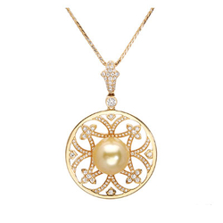 AUTORE正品  18K黄金0.88克拉总重100%纯正珍珠项链