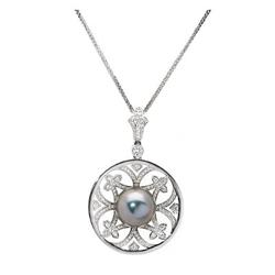AUTORE正品  18K白金0.86克拉总重100%纯正珍珠项链
