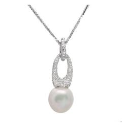 AUTORE正品  18K白金1.01克拉总重100%纯正珍珠项链