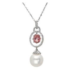 AUTORE正品  18K白金2.27克拉总重100%纯正珍珠项链