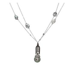 AUTORE正品  18K白金1.11克拉总重100%纯天然钻石项链
