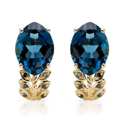 fpj正品  高质量10K黄金12.75克拉总重100%纯正蓝晶耳环