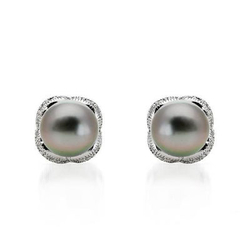 fpj正品  高质量14K白金0.27克拉总重100%纯正珍珠耳环