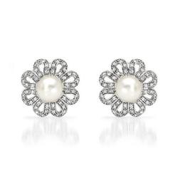 fpj正品  高质量14K白金0.75克拉总重100%纯正珍珠耳环