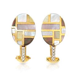 fpj正品  14K黄金0.07克拉总重100%纯正珍珠耳环