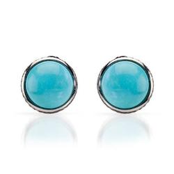 fpj正品  高质量14K白金1.35克拉总重100%纯正绿松石耳环