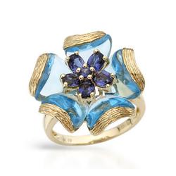 fpj正品  高质量14K黄金10.80克拉总重100%纯正蓝晶戒指