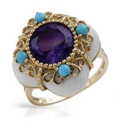fpj正品  高质量14K黄金16.60克拉总重100%纯正紫晶戒指