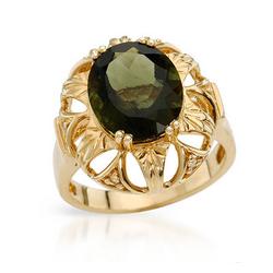 fpj正品  高质量14K黄金3.90克拉总重100%纯正莫达维特戒指