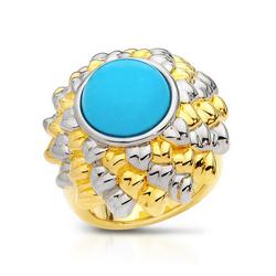 fpj正品  高质量镀金银100%纯正绿松石戒指