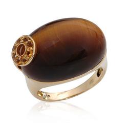 fpj正品  高质量10K黄金28.17克拉总重100%纯正老虎眼鸡尾酒戒指