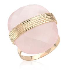 fpj正品  高质量14K黄金26.63克拉总重100%纯正石英鸡尾酒戒指