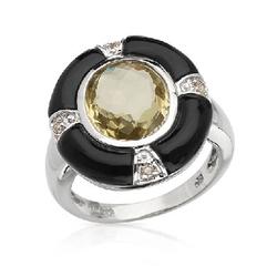fpj正品  14K白金4.45克拉总重100%纯正缟玛瑙戒指