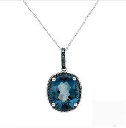 FPJfpj正品  高质量14K白金5.75克拉总重100%纯正蓝晶项链