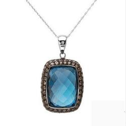 fpj正品  高质量14K白金25.40克拉总重100%纯正蓝晶项链