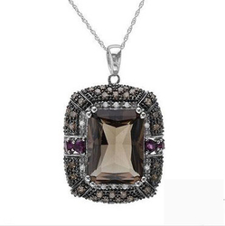 fpj正品  高质量14K白金14.25克拉总重100%纯天然钻石项链