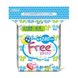 Free•飞夜用丝薄干爽速渗网面卫生巾5片